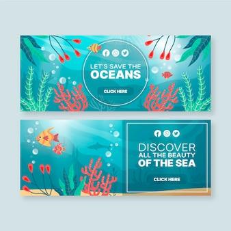 Plantilla de banners con elementos de océanos.