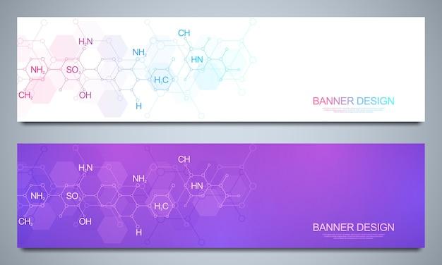 Plantilla de banners y encabezados para sitio con antecedentes de química abstracta y fórmulas químicas. concepto de tecnología de ciencia e innovación. web de decoración y otras ideas.