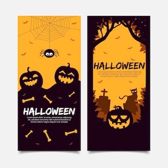 Plantilla de banners de feliz halloween