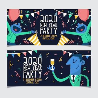 Plantilla de banners de fiesta de año nuevo 2020 dibujados a mano