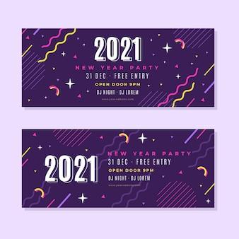 Plantilla de banners de fiesta de año nuevo 2021 en diseño plano