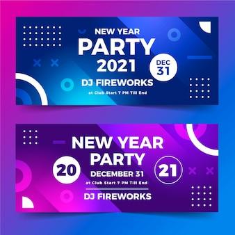 Plantilla de banners de fiesta de año nuevo 2021