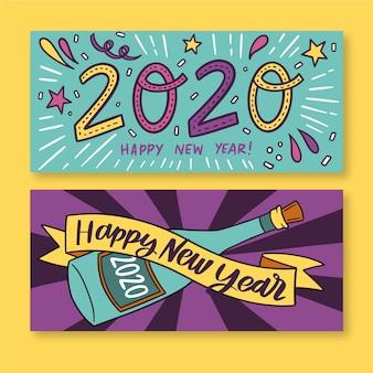Plantilla de banners de fiesta de año nuevo dibujado a mano