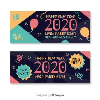 Plantilla de banners de fiesta de año nuevo de diseño plano