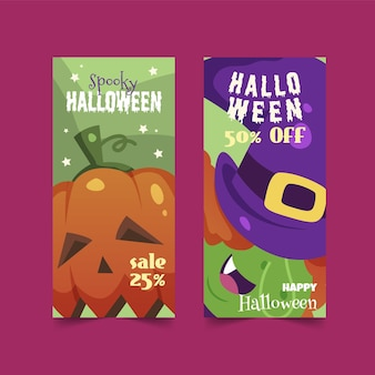 Plantilla de banners de halloween de diseño plano
