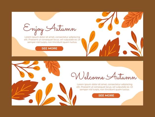 Plantilla de banners de hola otoño dibujados a mano