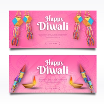 Plantilla de banners horizontales feliz diwali
