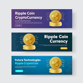 Plantilla de banners horizontales con un montón de monedas de oro de rizo de moneda criptográfica.
