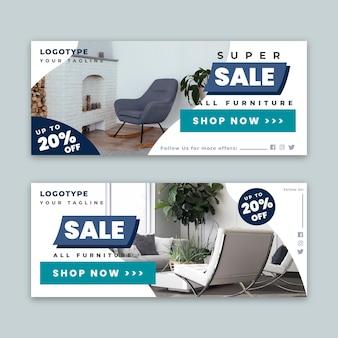 Plantilla de banners horizontales de venta de muebles con foto