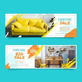 Plantilla de banners horizontales de venta de muebles