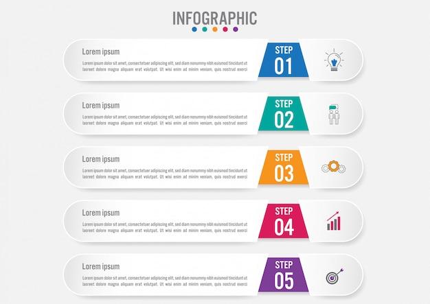 Plantilla de banners de infografía de negocios con 5 opciones