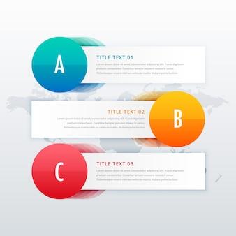 Plantilla de banners infográficos de 3 pasos con espacio para texto
