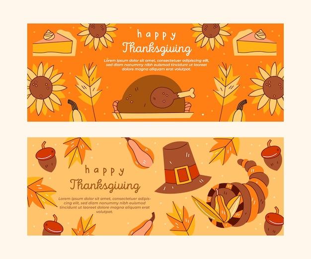 Plantilla de banners de instagram del día de acción de gracias
