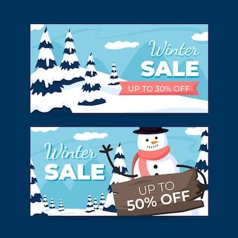 Plantilla de banners de invierno de diseño plano