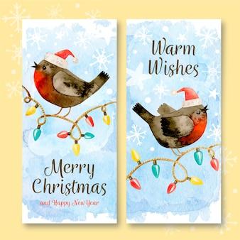 Plantilla de banners de navidad acuarela