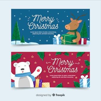 Plantilla de banners de navidad dibujados a mano
