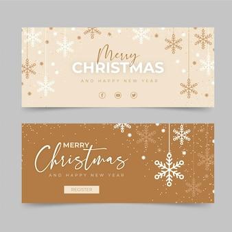 Plantilla de banners de navidad de diseño plano