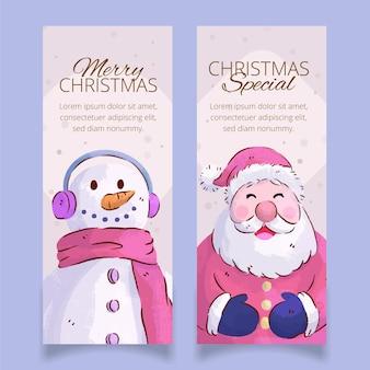 Plantilla de banners navideños en acuarela