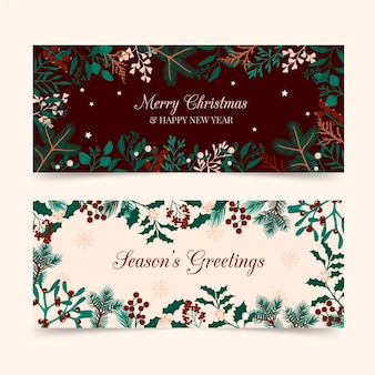 Plantilla de banners navideños dibujados a mano