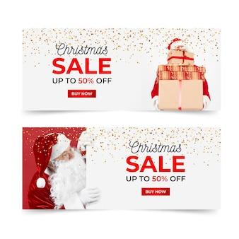 Plantilla de banners navideños con foto