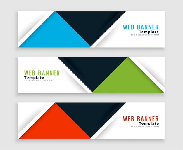 Plantilla de banners de negocios de estilo plano web moderno