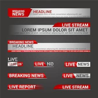 Plantilla de banners de noticias de transmisión en vivo