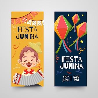 Plantilla de banners o roll-ups con elementos decorativos para festa junina.