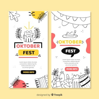 Plantilla de banners de oktoberfest dibujados a mano