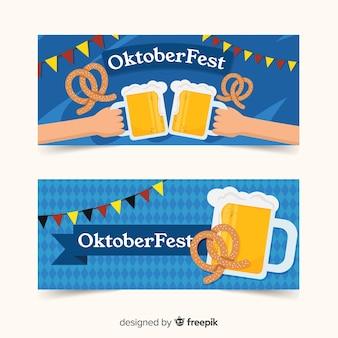 Plantilla de banners del oktoberfest en diseño plano
