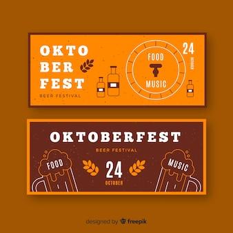 Plantilla de banners de oktoberfest de diseño plano