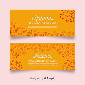 Plantilla de banners de otoño dibujado a mano