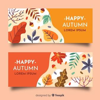 Plantilla de banners de otoño en diseño plano