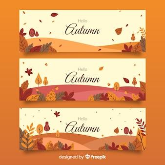 Plantilla de banners de otoño con hojas en diseño plano