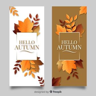 Plantilla de banners de otoño con hojas realistas