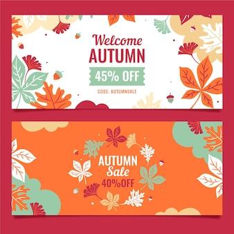 Plantilla de banners de otoño de venta de diseño plano