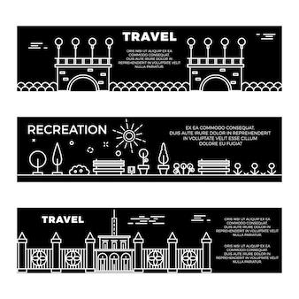 Plantilla de banners planos de viaje y recreación
