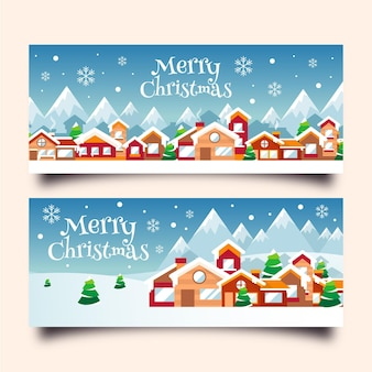 Plantilla de banners de pueblo navideño de diseño plano