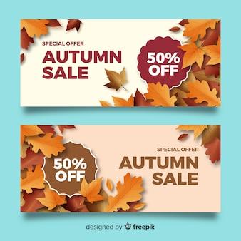 Plantilla de banners realistas de rebajas de otoño