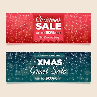 Plantilla de banners de rebajas de navidad borrosa