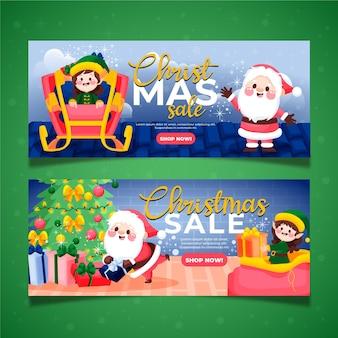 Plantilla de banners de rebajas de navidad dibujados a mano