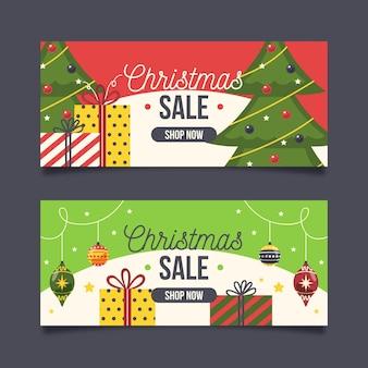 Plantilla de banners de rebajas de navidad de diseño plano