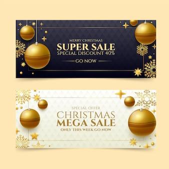 Plantilla de banners de rebajas de navidad dorada