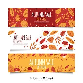 Plantilla de banners de rebajas de otoño dibujado a mano