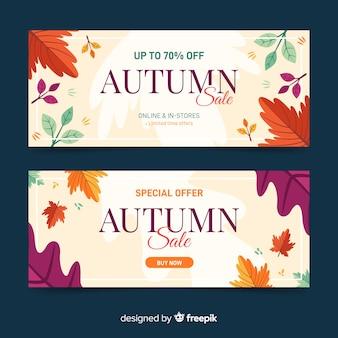 Plantilla de banners de rebajas de otoño dibujados a mano