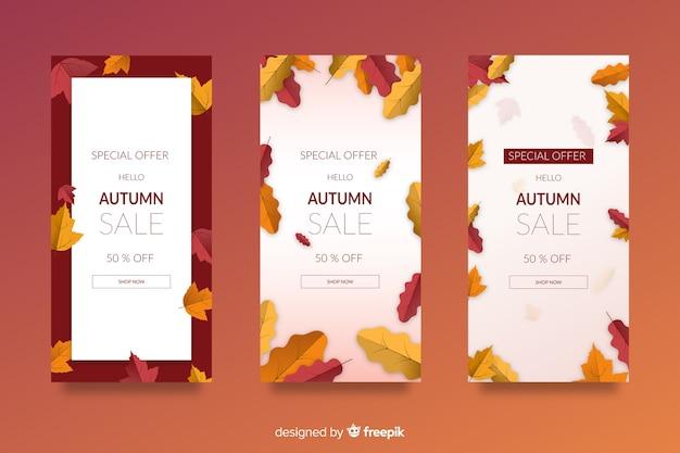 Plantilla de banners de rebajas de otoño en diseño plano