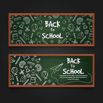 Plantilla de banners de regreso a la escuela de pizarra