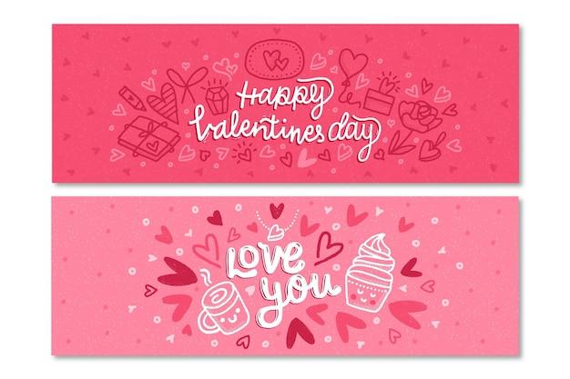 Plantilla de banners de san valentín dibujados a mano