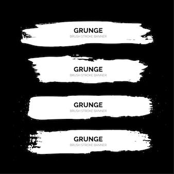 Plantilla de banners de trazo de pincel grunge blanco