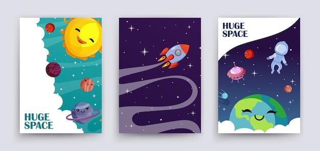 Plantilla de banners de universo de dibujos animados