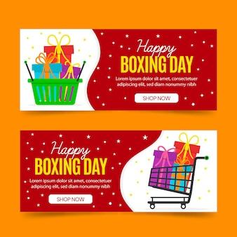 Plantilla de banners de venta de boxing day dibujados a mano